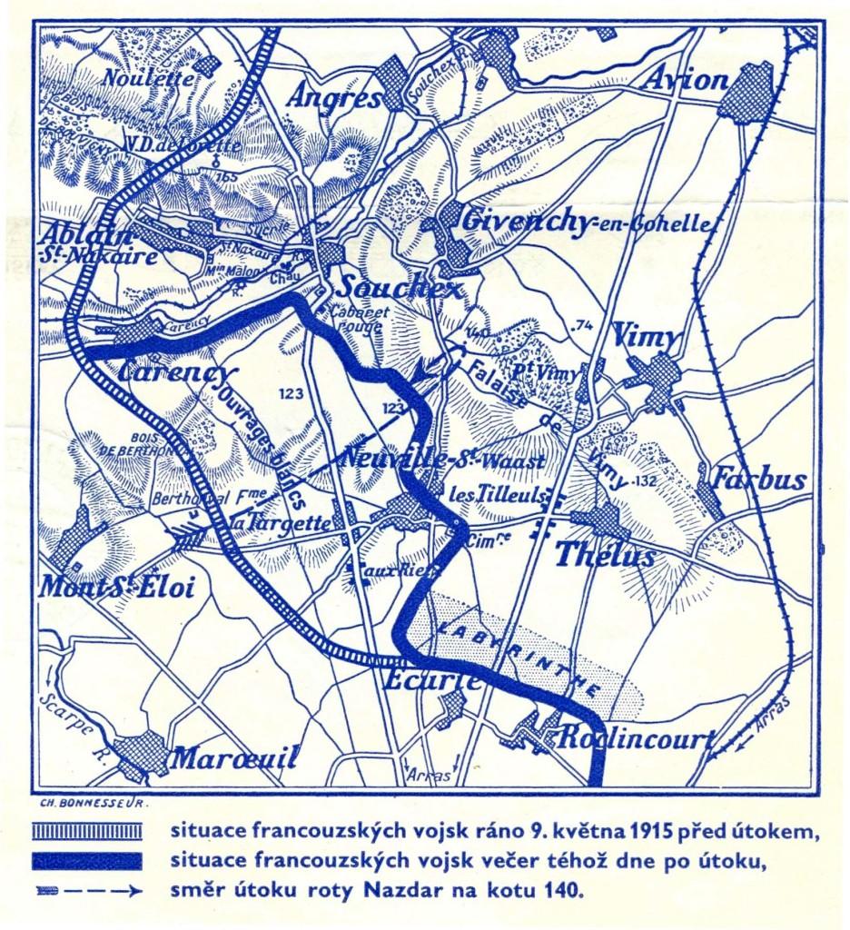 Mapa vítězného postupu dne 9. května 1915