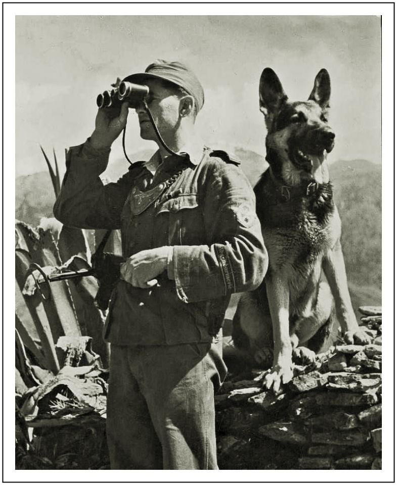 Polní četník s věrným kamarádem, služebním psem